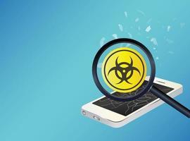 smartphone-apparaat geïnfecteerd virus vector