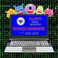 blauw scherm laptop geïnfecteerd ransomware-virus met viruscartoon vector