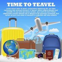 tijd om te reizen met de bagagezak van de vliegtuigkoffer vector