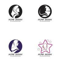 muslimah hijab embleemontwerp sjabloon vector illustratie