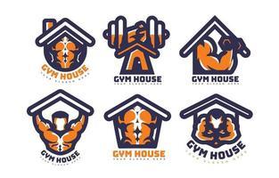 het concept van een aantrekkelijk logo van een sportschoolhuis vector