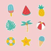 hand getrokken zomer sticker set vector