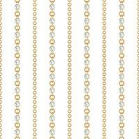 naadloze patroon van gouden kettingslijnen op witte achtergrond. vector illustratie