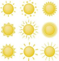 set van zon iconen vector