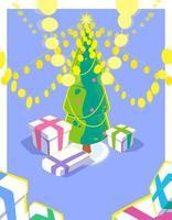kerstkaart met 3d effect. heldere slinger en geschenkdozen onder de kerstboom. vakantieseizoen illustratie met veel gele lichten. kleurrijk winterseizoenontwerp. vector platte concept.