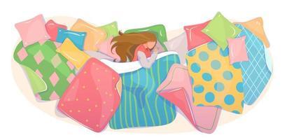 kussens en dekens omslagontwerp, textielwinkelbanner. meisje slapen in gezellig beddengoed concept. beddengoed set sjabloon. webachtergrond van stofpatroon. droomkaart, bovenaanzicht. platte vectorillustratie. vector
