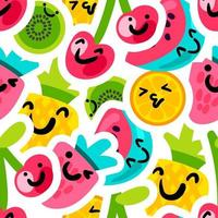 fruit emoji stickers naadloze vector patroon