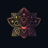 lotusbloem met geometrische patroon lineaire vectorillustratie vector