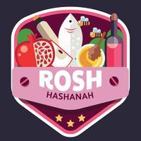 Rosj Hasjana badge vector ontwerp