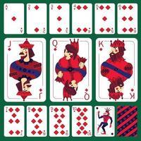 poker speelkaarten diamant pak instellen vectorillustratie vector