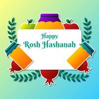 Wenskaart ontwerp voor het Joodse Nieuwjaar Rosh Hashanah sjabloon vector