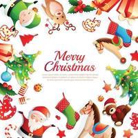 vrolijk kerstfeest cartoon frame vectorillustratie vector