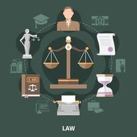 schaal van rechtvaardigheid ronde compositie vector