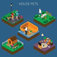 mensen met huisdieren samenstelling instellen vectorillustratie vector