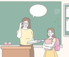 de docent spreekt voor het bord en een transferstudent staat ernaast. hand getrokken stijl vector ontwerp illustraties.