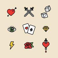 Geschetst Tattoo pictogrammen