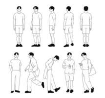 de multi-directionele staande houding van de jongen. standaard monster. hand getrokken stijl vector ontwerp illustraties.