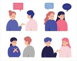 mensen die met elkaar praten. hand getrokken stijl vector ontwerp illustraties.