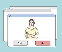 ja nee computer pop-upvenster wachtend op selectie. hand getrokken stijl vector ontwerp illustraties.