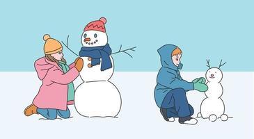 de kinderen maken een schattige sneeuwpop. hand getrokken stijl vector ontwerp illustraties.