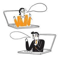 illustratie van een bedrijfsmensen die op afstand werken vector
