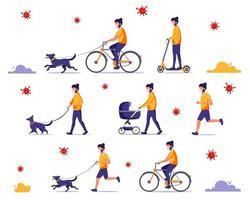 man doet buitenactiviteiten tijdens pandemie. wandelen met hond, fietsen, joggen. man in gezichtsmasker. vector illustratie