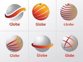 wereldbol logo ontwerp vector pack