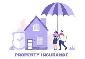 eigendomsverzekeringsconcept voor onroerend goed, huis uit verschillende situaties zoals natuurrampen, brand en anderen. vector illustratie