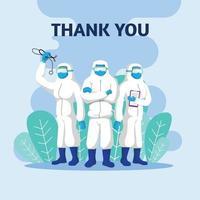 bedankt arts en verpleegkundigen en medisch personeelsteam voor het bestrijden van het coronavirus. vector
