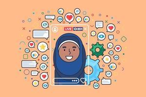 Midden-Oosten vrouwelijke streamer egale kleur vector teken