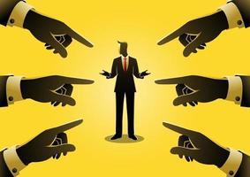 zakenman wordt gewezen door vingers vector