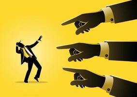 zakenman wordt gewezen door gigantische vingers vector