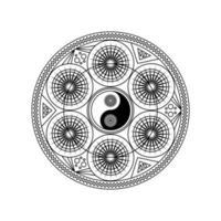 yin yang-symbool in oostelijk geometrisch patroon vector