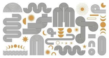 abstracte boho esthetische geometrische vormenset. eigentijds lijnontwerp uit het midden van de eeuw met zon- en maanfasen, trendy bohemienstijl in aardetint. vector