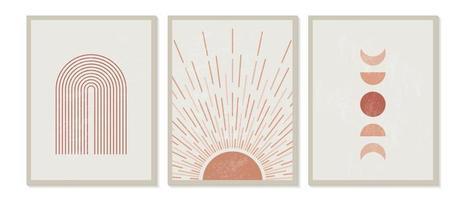 moderne minimalistische kunstdruk uit het midden van de eeuw met organische natuurlijke vorm. abstracte eigentijdse esthetische achtergrond met geometrische maanstanden, zon, regenboog. Boho wand decor. vector