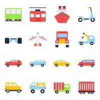 pack van auto's plat pictogrammen vector