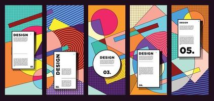 vector verticale banner ontwerpsjabloon met kleurrijke abstracte geometrische achtergrond