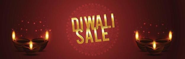 diwali verkoop achtergrond met creatieve diwali diya en achtergrond vector
