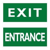 uitgangs- en ingangsborden. Engelse witte tekst op groene achtergrond. vector