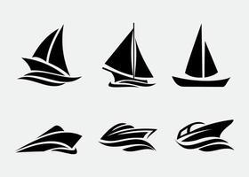schip en boten pictogrammen instellen vector