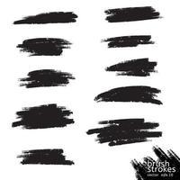 vector grunge zwarte verf, inkt penseelstreek, penseel. vies artistiek ontwerpelement. abstracte zwarte verf inkt penseelstreek voor uw ontwerp gebruik frame of achtergrond voor tekst. set - vector