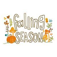 Aquarel herfstbladeren, bloemen en paddestoelen