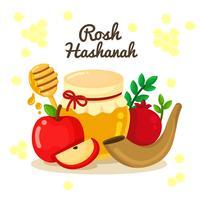 Rosh Hashanah Joods Nieuwjaar Elementenontwerp vector