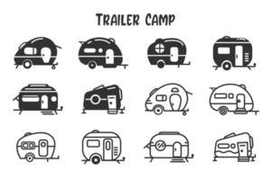 camper aanhangwagen pictogramserie vector
