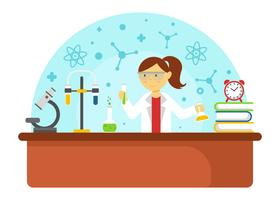 Vrouwelijke wetenschapper die experimentenvector doet
