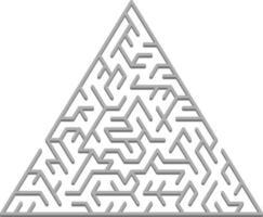 vector lay-out met een grijze driehoekige 3d doolhof, raadsel.