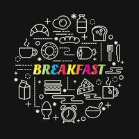 ontbijt kleurrijke kleurovergang belettering met pictogrammen instellen vector
