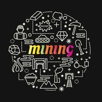 mijnbouw kleurrijke kleurovergang belettering met pictogramserie vector