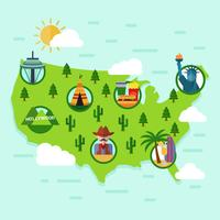 Platte Verenigde Staten Landmark kaart Vector