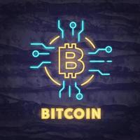 bitcoin neon symbool vector